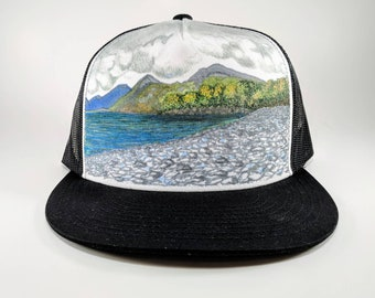 Hand Painted Trucker Hat: Rocky Shore