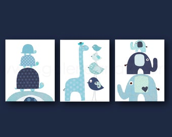 Turtles Bird elephant giraffe Nursery art baby nursery decor navy blue aqua kids family room decor boys Set of 3 prints