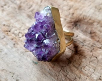 Ultra Violet Amethyst Druzy Brass Ring