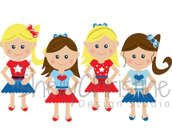 Red White Blue Little Girls Clip Art, Cute Kids graphic Digital Clip art / Set of 4 High Resolution PNG files Instant download