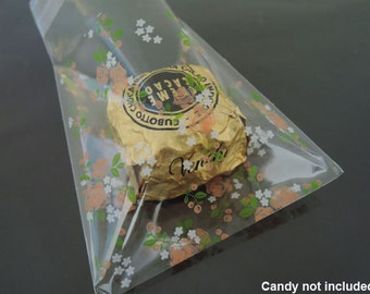 Gift Bags - Cookie Bags Packaging Bag Self Adhesive Resealable Clear Plastic Bag Supply Flower Rose Plastic Gift Bag 48pcs