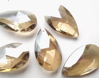 5 Champagne 50mm Teardrop Chandelier Crystals Prisms Almond