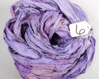 Sari silk ribbon, Recycled Silk Sari Ribbon, Lilac sari ribbon, hyacinth sari ribbon, weaving supply, knitting supply, tassel supply
