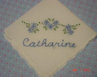 reserved for MARY/ Wedding handkerchief, something blue, hand embroidered, delicate picot edged hanky, bouquet wrapwedding colors welcome