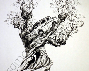 Harry Potter and the Chamber of Secrets by JK Rowling Flying Car in Whomping Willow Tree Pointillism Print