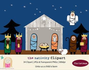 Nativity Clip Art, Christmas Digital, Nativity Clipart, Jesus Clipart, Wise Men Clip Art, Christmas Clipart, Nativity, Commercial Use