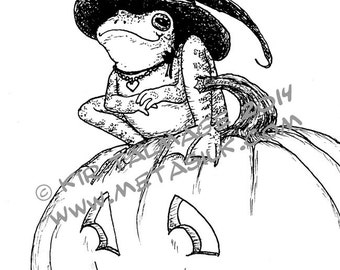 Frog Witch full-page coloring sheet (PDF, line art by Kir Talmage)