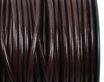 5mm BROWN Round Licorice Leather, European Leather Cord, flexible, 1 yard (3 feet), cor0102
