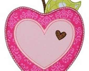 APPLE Iron On Patch Applique Machine Embroidered Iron On Applique Valentine
