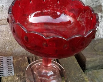 Vintage Ruby Red Teardrop Compote Indiana Glass