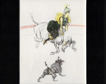 Clownesse, Horse and Dog Matted Print by Toulouse–Lautrec  (Au Cirque)