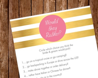 Printable- Bridal Shower Party Game- Would They Rather