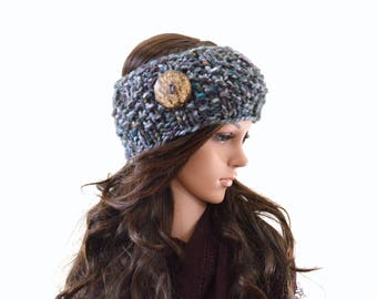 Chunky Woman Knit Button Ear Warmer Headband Hairband Hair Wrap | The Scotland