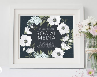 Wedding Social Media Sign | Vintage Black and White Floral | Wedding Signage | Event Hashtag | Printable