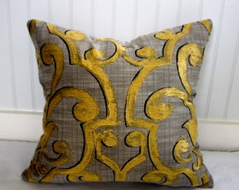 Grey and Gold Medallion Pillow Cover / Designer Fabric with Grey Velvet back / Handmade Home Decor Accent Pillows / 18 x 18