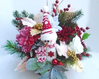 Christmas Silk Floral Arrangement in Red Metal Container, Christmas Centerpiece, Winter Decor, Christmas Floral, Christmas Arrangement
