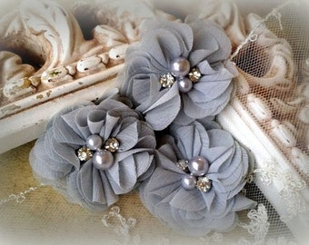 Grey Chiffon Flowers with Pearls and Rhinestone Center, for Headbands, Clothing, Sashes, Crafting,Set of 3, approx. 2 inches across, FL-316