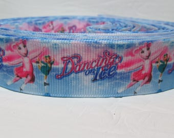 """5 yards Grosgrain ribbon 7/8"""" Mouse, Mice, Dancing on Ice on blue background"""