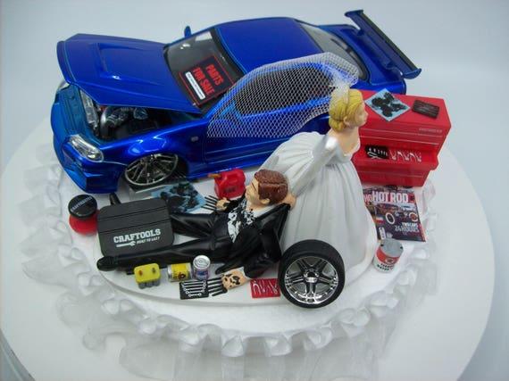 AUTO Mechanic Bride And Groom Nissan Skyline GTR R34 Blue CAR Funny Wedding  Cake Topper Groomu0027s Cake
