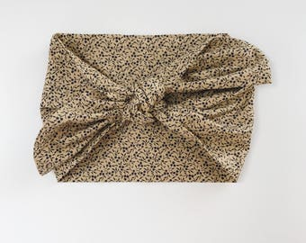 Cotton Tan with Mini Navy Flowers Headwrap/Headband - One Size Fits All
