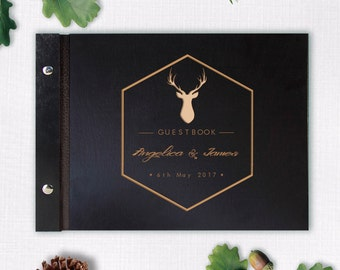 Wooden Wedding Guest Book, Modern Writing Guestbook, Hipster Rustic Deer, Laser Engraved Names Bride and Groom, Many Colours, Personalized