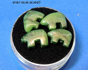 Tiny Zuni Bear Happy Camp Jade  or Californite  you get Four in a Gem Jar