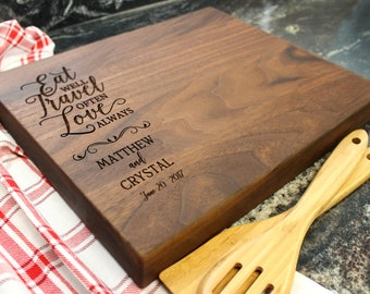 "15x12"" Personalized Chopping Block - Engraved Edge Grain, Custom Butcher Block, Housewarming, Wedding, Engagement, Hostess Gift (014)"