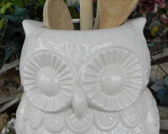 White  Owl utensil holder kitchen organization owl large ceramic planter Owl Garden  . owlpl