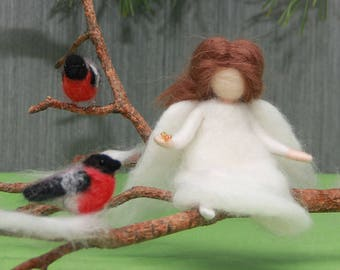 Needle felted Christmas Angel with birds Bullfinches, Waldorf Christmas Angel, Waldorf Nativity Angel, needle felted birds, soft sculpture