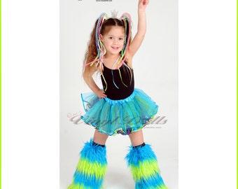 Kids size Striped Furry Leg Warmers Rave Fluffies Child Dance Wear