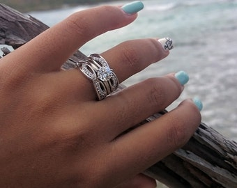 Moissanite Ring Guard in 14k Rose Gold Engagement Ring Wrap