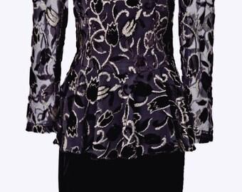 Black/Gold Velvet Embossed Dress