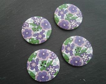 button wood flower purple 50mm