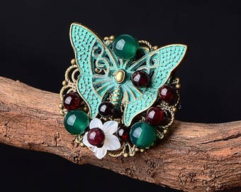 Butterfly Ring Vintage Fashion Jewelry stone mood Rings for Women