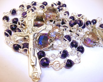 catholic Rosary, Miraculous, amethyst jade, wire wrapped, Abundant Grace, Indylin, free shipping, Wrapped with fine silver over copper,