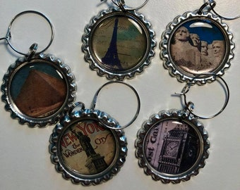 World Travel Flattened Bottle Cap Wine Charms, Wine Accessories, Party Favors, Bunco Prize, Stocking Stuffers - Set of 5