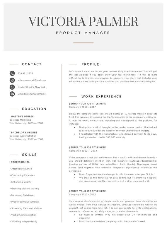 Moderne Lebenslauf Vorlage / CV Vorlage Anschreiben