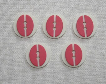 Set of 5 round vintage buttons. Pink buttons. B02