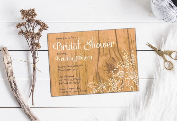 Rustic Wood and Lace Bridal Shower Invitation, Custom Bridal or Couples Shower Invitation, Shower Invitation with Envelopes