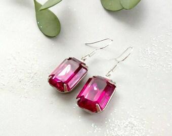 Fucshia Pink Czech Crystal Solitare Earrings Octagon Shape Drop Earrings 925  Sterling Silver Earwire<< 925 earrings <<Solitare earrings