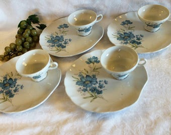 Set of 4 Vintage Porcelain Snack Sets by Lefton China Made in Japan - 4 Plates and 4 Tea Cups, Blue Flowers