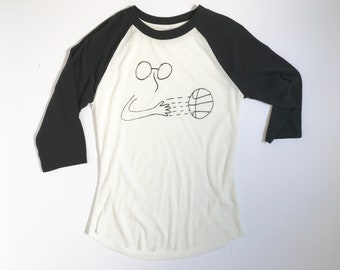 BASKETBALL alley-oops HOOP dreams hand drawn two tone baseball style t-shirt top