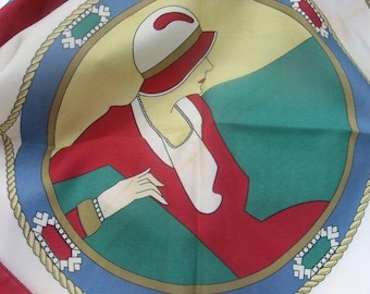 1920s Flapper Scarf by Emmanuel Laurent. Women in cloche hats. Art deco nouveau ladies fashion style wrap. Italian Designer neck head scarf