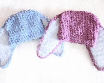 6 to 12m Bunny Twin Outfit Baby Hats, Twin Bunny Hats, Twin Baby Girl, Twin Baby Boy, Plum Blue Twin Prop, Bunny Baby Hat Twin Set