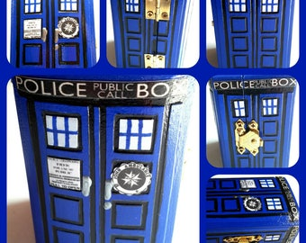 Phone Box, Doctor Who Tardis Inspired Engagement Ring Box, Miniature 3 inch Wooden Ring Box (OneOfAKind)