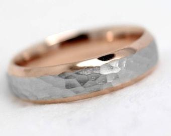 Wedding Ring, Wedding Band, Mens Ring, Hammered Ring,Mens Wedding ring,Matching Rings, Engraved Ring, Gold Ring, Men Ring, Personalized Ring