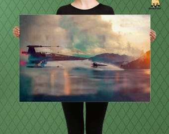 Star Wars Inspired, Fighter ship approach, Wings of Freedom, Custom Raised Canvas Art Piece