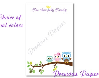 50 sheets Personalized owl note pads - Personalized owl notepads - Personalized owl family notepads