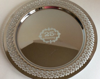 Vintage 70's Silver Anniversary platter. Stainless steel 25th Anniversary serving tray. 25th Anniversary gift.
