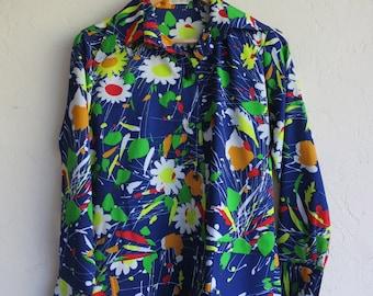 "Retro Blue Floral ""Jackfin"" Shirt"